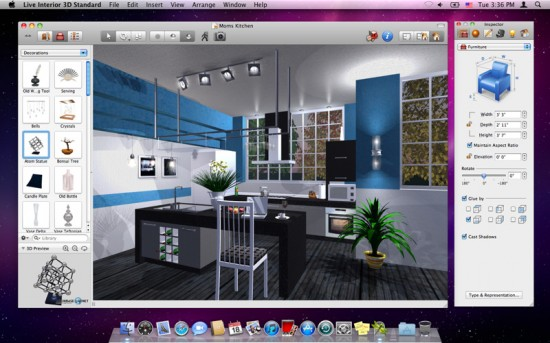 Live interior 3d l 39 applicazione di interior design su mac for Software arredamento interni gratis
