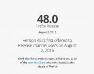 Mozilla rilascia il nuovo Firefox (versione 48.0)