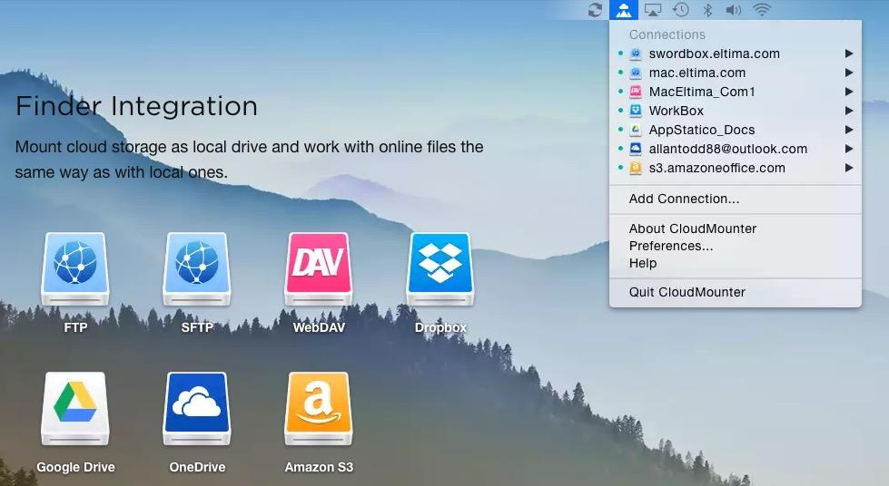 CloudMounter: il modo più semplice per avere accesso ai propri account di file hosting
