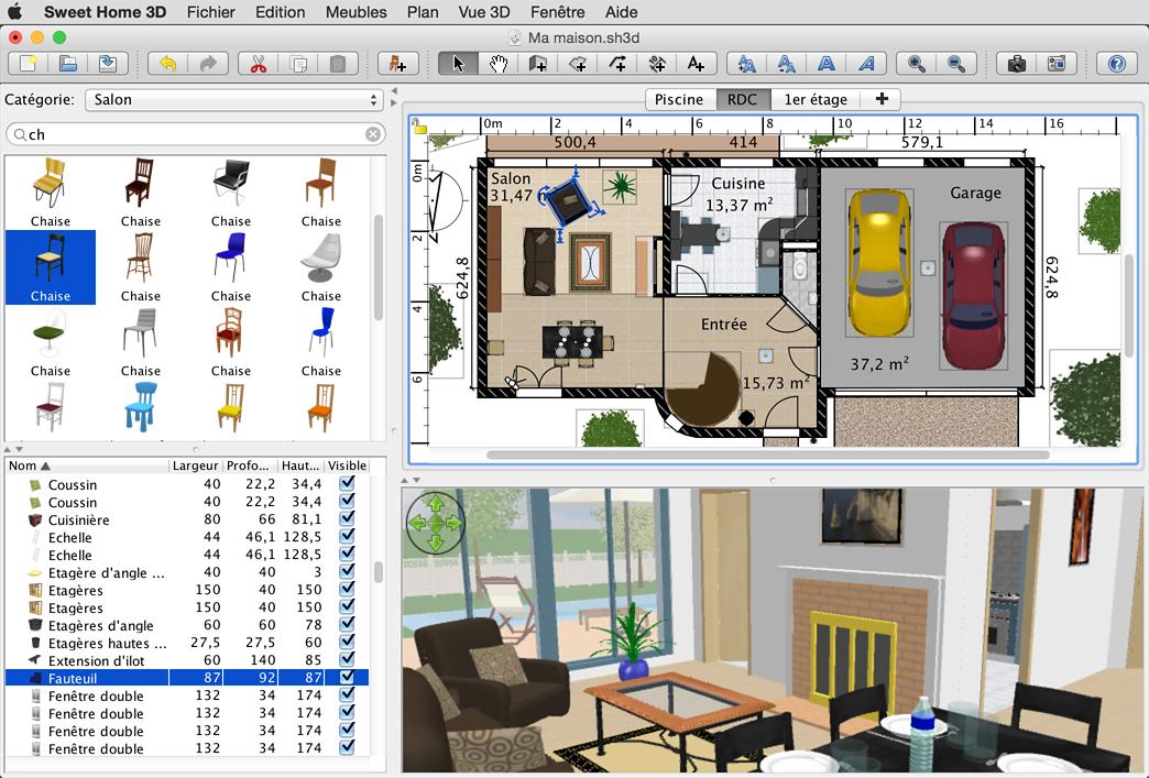 Sweet home 3d planimetria progettazione interni e for Programma arredamento 3d