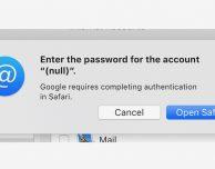 Problemi di accesso agli account Gmail tramite Mail su macOS 10.14.4