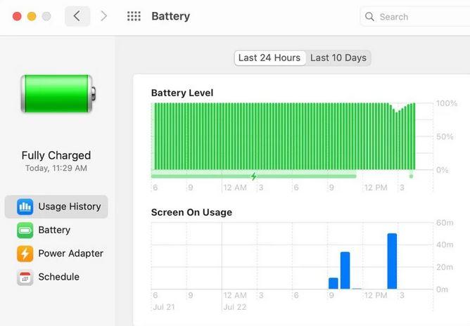 macOS Big Sur batteria