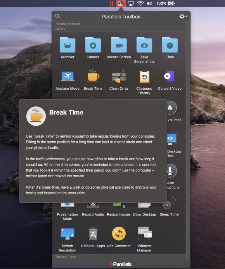 Parallels Toolbox Break Time macOS