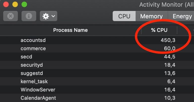 accountsd problema cpu mac