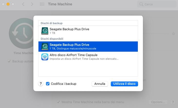 backup crittografato mac